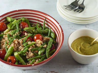 asparagus, bean salad with miso mayo