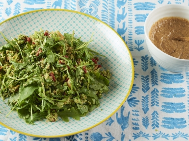 spicy broccoli salad with almond miso dressing