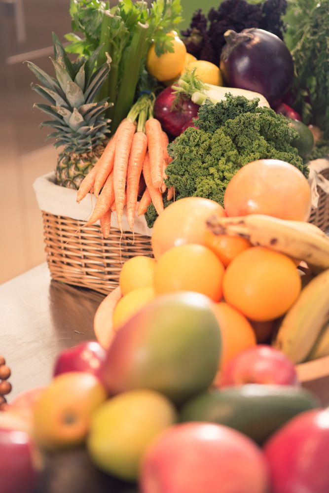 Selection of fresh fruits and vegetables