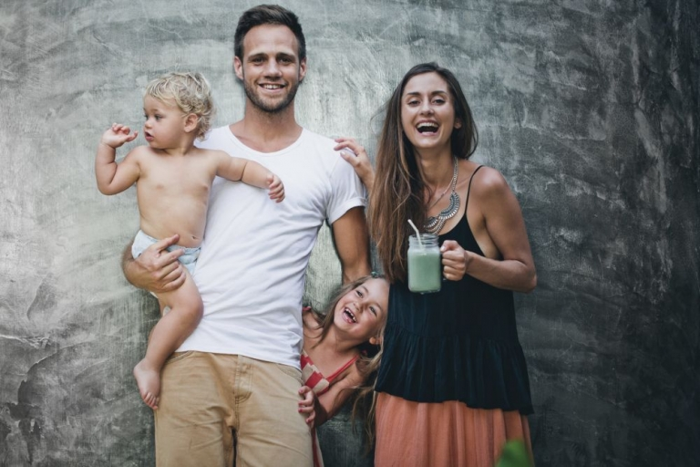 Luise Vindahl of Green Kitchen Stories with her partner, David Frenkiel, and their two children.