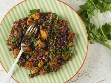 red rice, herb and roasted squash salad
