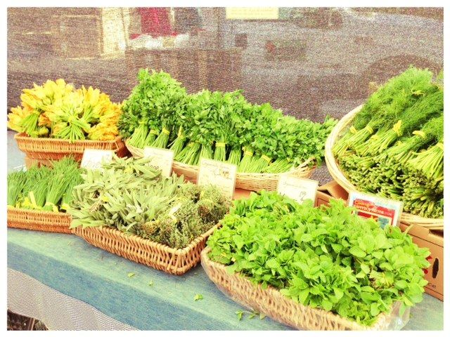 salad greens on market stall