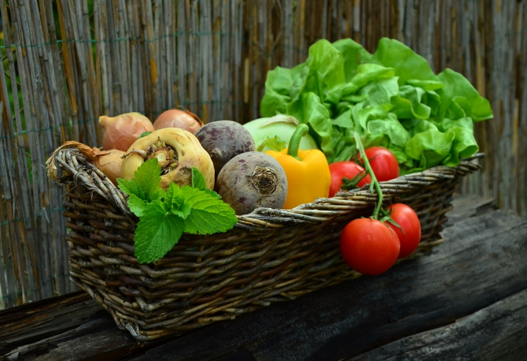 vegetables in a vegetable basket