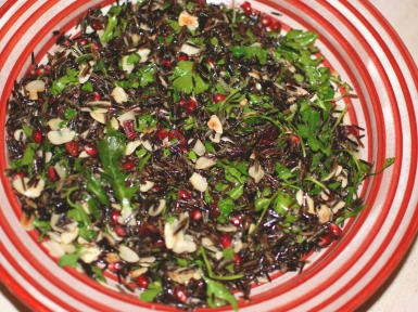 almond, herb and wild rice salad with zingy dressing