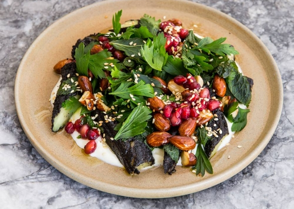 Baked eggplant, pomegranate, almond salad The Apollo Restaurant Sydney