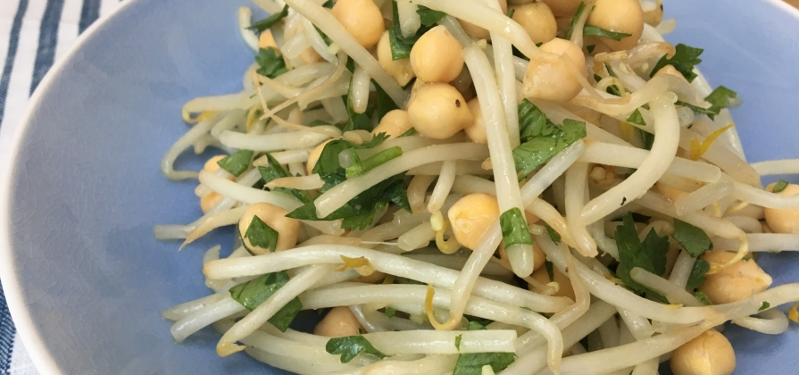bean sprout, ginger and chickpea salad