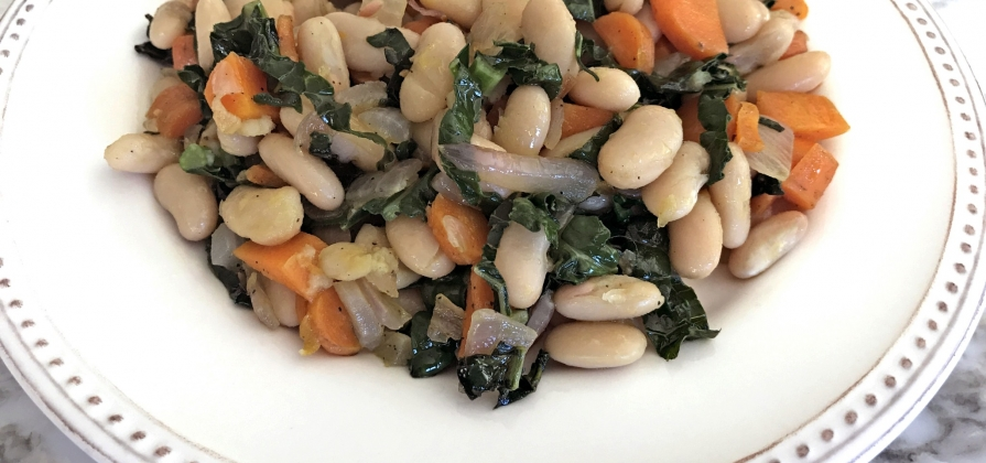 wilted kale and cannellini beans