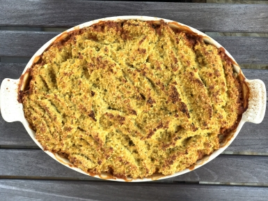 lentil bake with a millet and cauliflower crust